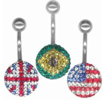 Piercing nombril Crystal Evolution Drapeau Swarovski