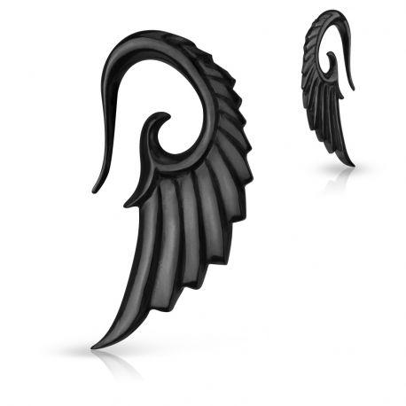 Piercing écarteur aile d'ange en corne de buffle