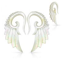 Paire de piercing écarteur aile d'ange en nacre