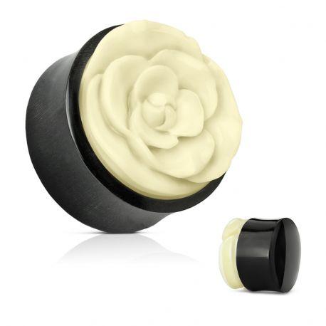 Piercing plug bois et corne de buffle rose