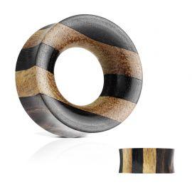 Piercing tunnel pour lobe d'oreille strié en bois