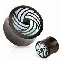 Piercing plug en bois dur cercles tribal nacre