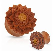 Piercing plug en bois de jaquier fleur de lotus