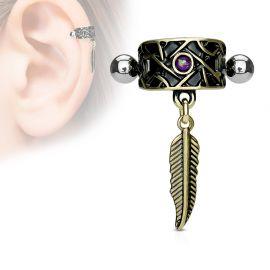 Piercing oreille hélix manchette tribale plume