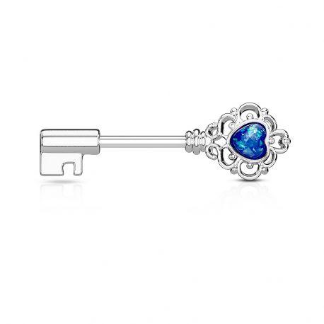 Piercing téton clef vintage opale bleue