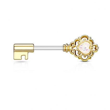 Piercing téton plaqué or clef vintage opale blanche