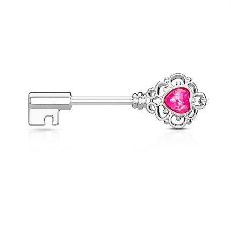 Piercing téton clef vintage opale rose