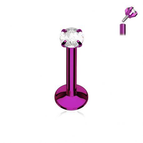 Piercing labret titane anodisé violet gemme serti griffes