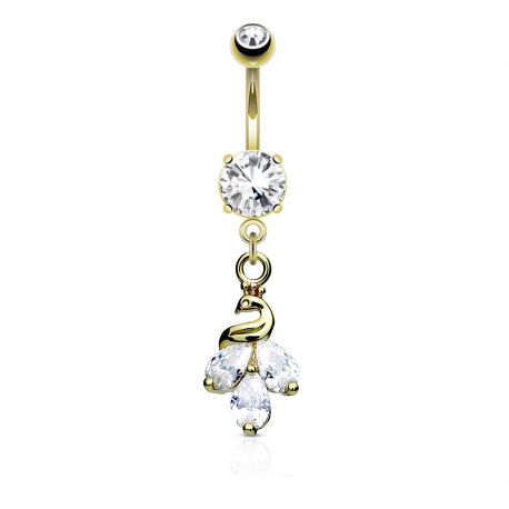 Piercing nombril gemmes paon plaqué or