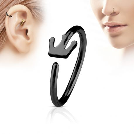 Piercing nez anneau couronne noir