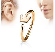 Piercing nez anneau couronne or rose