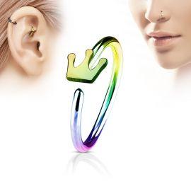 Piercing nez anneau couronne multicolore