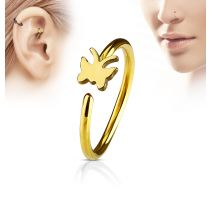 Piercing nez anneau papillon doré