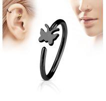 Piercing nez anneau papillon noir