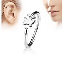 Piercing nez anneau papillon argenté