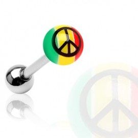 Piercing langue acrylique Rasta Peace