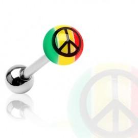 Piercing langue acrylique Rasta Peace