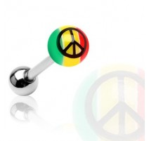 Piercing langue acrylique Rasta Peace - Bijou Piercing Langue