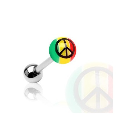 Piercing langue acrylique Rasta Peace - Bijou Piercing Langue