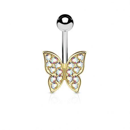 Piercing nombril papillon doré strass aurore boréale