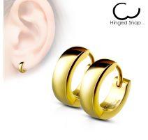 Paire Boucles d'oreille homme anneaux acier doré