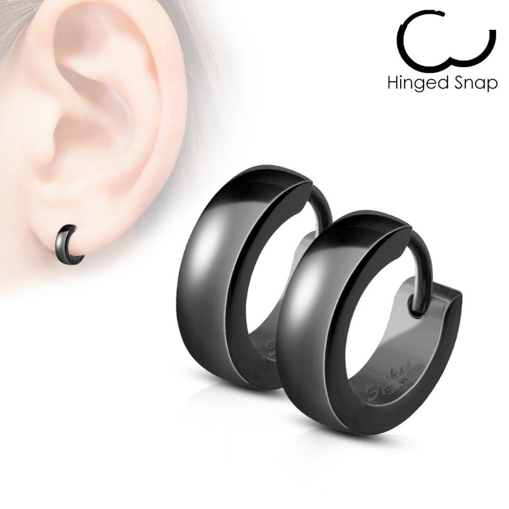 paire boucles d 39 oreille homme anneaux acier noir. Black Bedroom Furniture Sets. Home Design Ideas