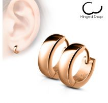 Paire Boucles d'oreille homme anneaux acier or rose