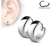 Paire Boucles d'oreille homme anneaux acier argenté