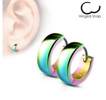 Paire Boucles d'oreille homme anneaux acier multicolore