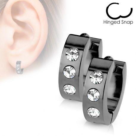 8d18c3da7b3 Paire de boucles d oreilles pour hommes en acier noir 3 zircon