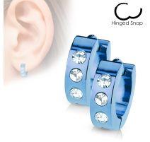 Paire Boucles d'oreille Homme Anneaux Bleu 3 Strass