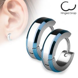 Paire Boucles d'oreille anneaux Bords Bleu