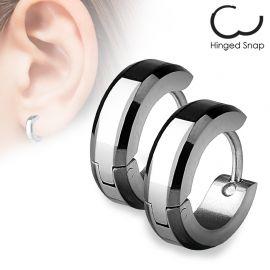 Paire Boucles d'oreille anneaux Bords Noirs