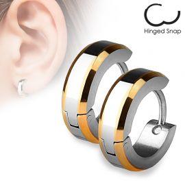 Paire Boucles d'oreille anneaux Bords Or Rose