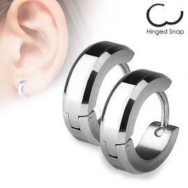 Paire Boucles d'oreille anneaux Bords Argentés
