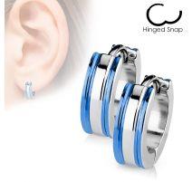 Paire Boucles d'oreille Anneaux Trio Argenté - Bleu