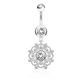 Piercing nombril vintage cercle filigrane