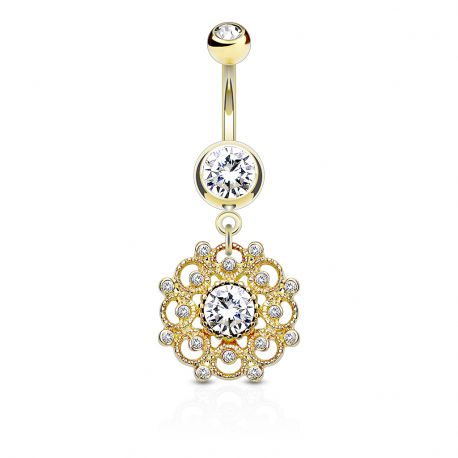 Piercing nombril vintage cercle filigrane doré