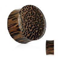 Piercing plug concave en bois de palmier