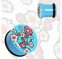 Piercing plug acrylique fleurs orientales bleu