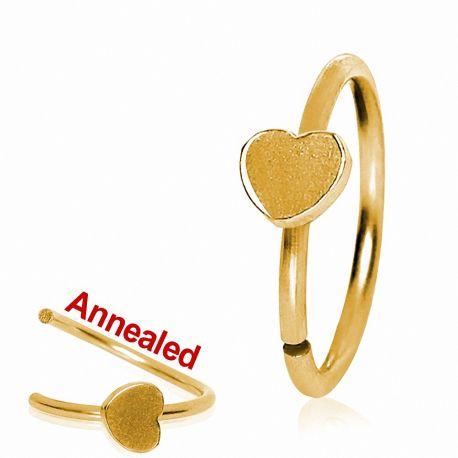 Piercing nez anneau doré avec coeur