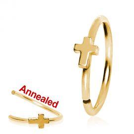 Piercing nez anneau doré avec croix