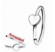Piercing nez anneau avec coeur