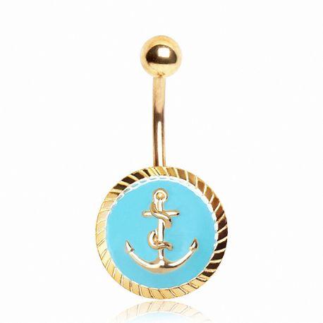 Piercing nombril plaqué or sceau ancre marine