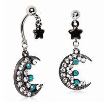 Piercing nombril double pendentif lune et étoile