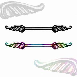 Piercing téton ailes d'ange colorées