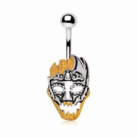 Piercing nombril masque de carnaval doré