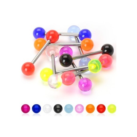 Piercing Langue Barbell Titane G23 Boules Acrylique - Bijou Piercing Langue
