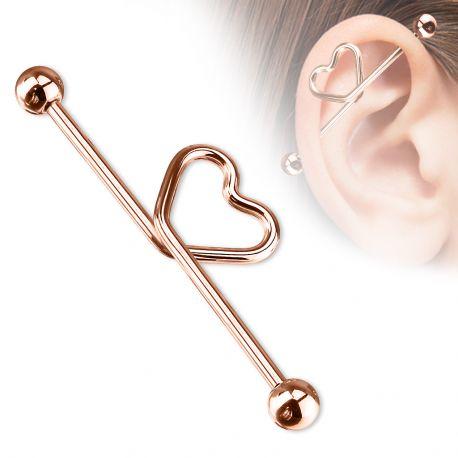 Piercing industriel Coeur en titane anodisé or rose