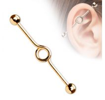 Piercing oreille industriel en titane or rosé loop